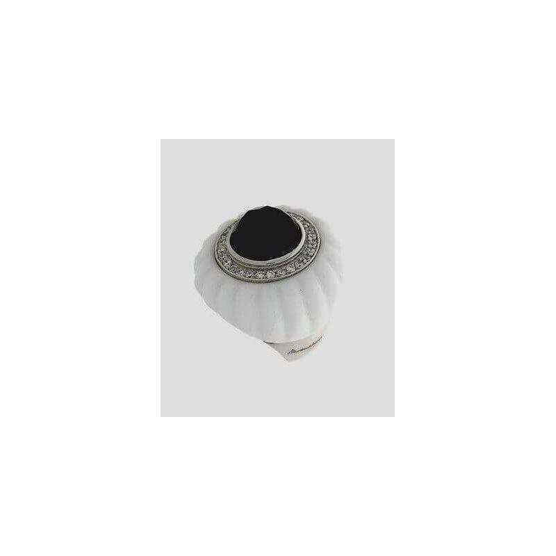 Anello Tondo in porcellana e argento 925 con zirconi