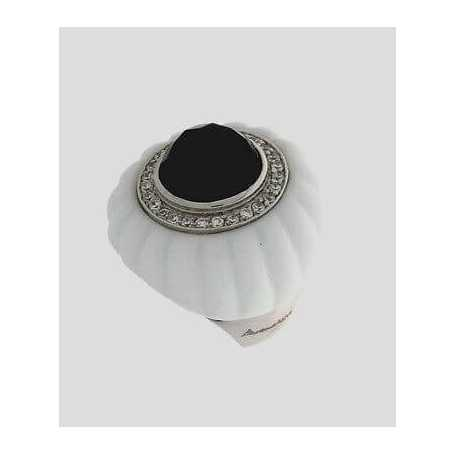 Ring Round porcelain and silver 925 with zircons