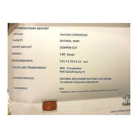 CERTIFIED RUBY CUSHION CUT 1,80 CARATS LOT 5,0 4,0 3,0