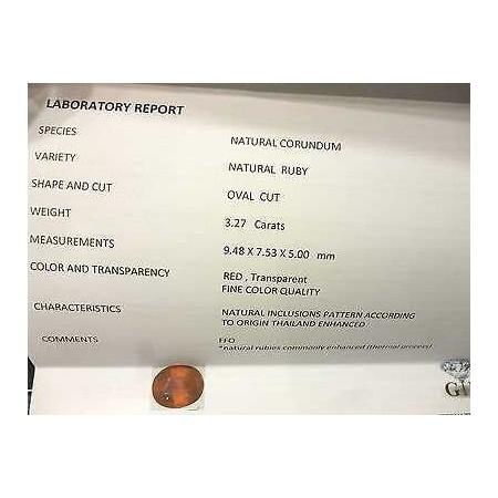 RUBINO CERTIFICATO TAGLIO OVALE 3,27 CARATI LOTTO 5,0 4,0 3,0 SCONTO 50 %