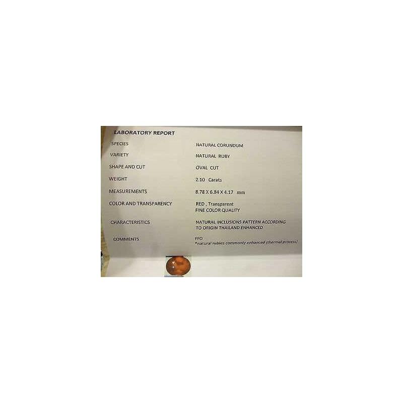 RUBINO CERTIFICATO TAGLIO OVALE 2,10 CARATI LOTTO 5,0 4,0 3,0