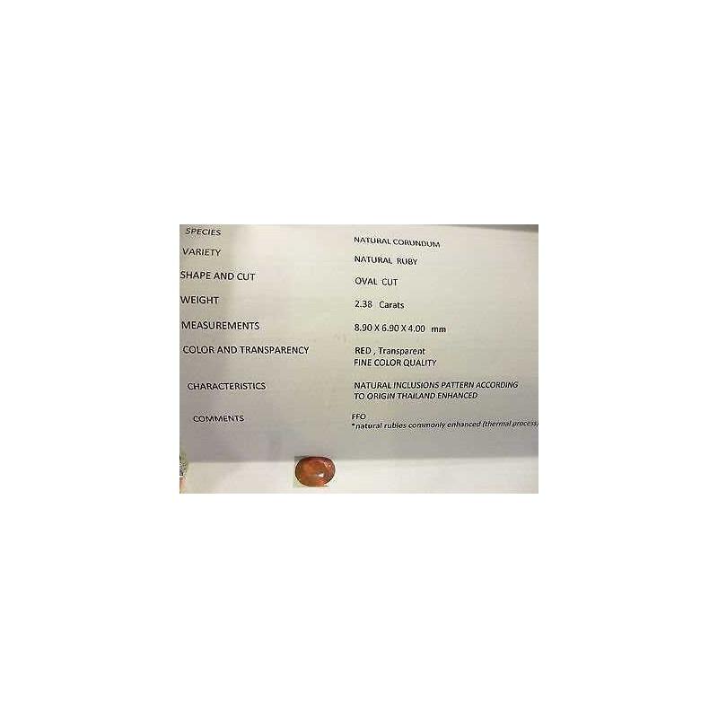 RUBINO CERTIFICATO TAGLIO OVALE 2,38 CARATI LOTTO 5,0 4,0 3,0