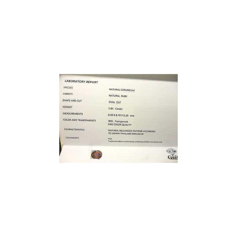 RUBINO CERTIFICATO TAGLIO OVALE 2,84 CARATI LOTTO 5,0 4,0 3,0 SCONTO 50 %