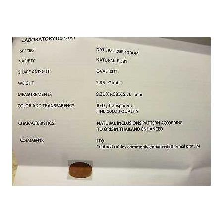 RUBINO CERTIFICATO TAGLIO OVALE 2,95 CARATI LOTTO 5,0 4,0 3,0 SCONTO 50 %