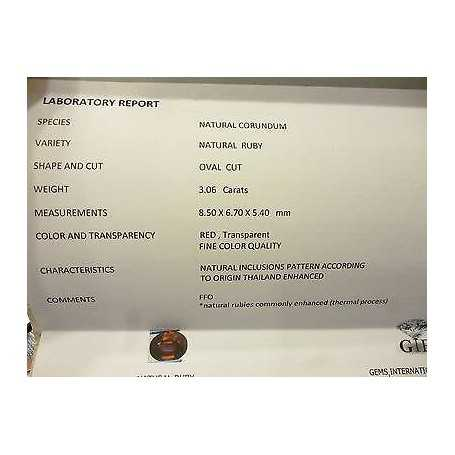 CERTIFIED RUBY OVAL CUT 3.06 CARATS LOT 5.0 4.0 3.0