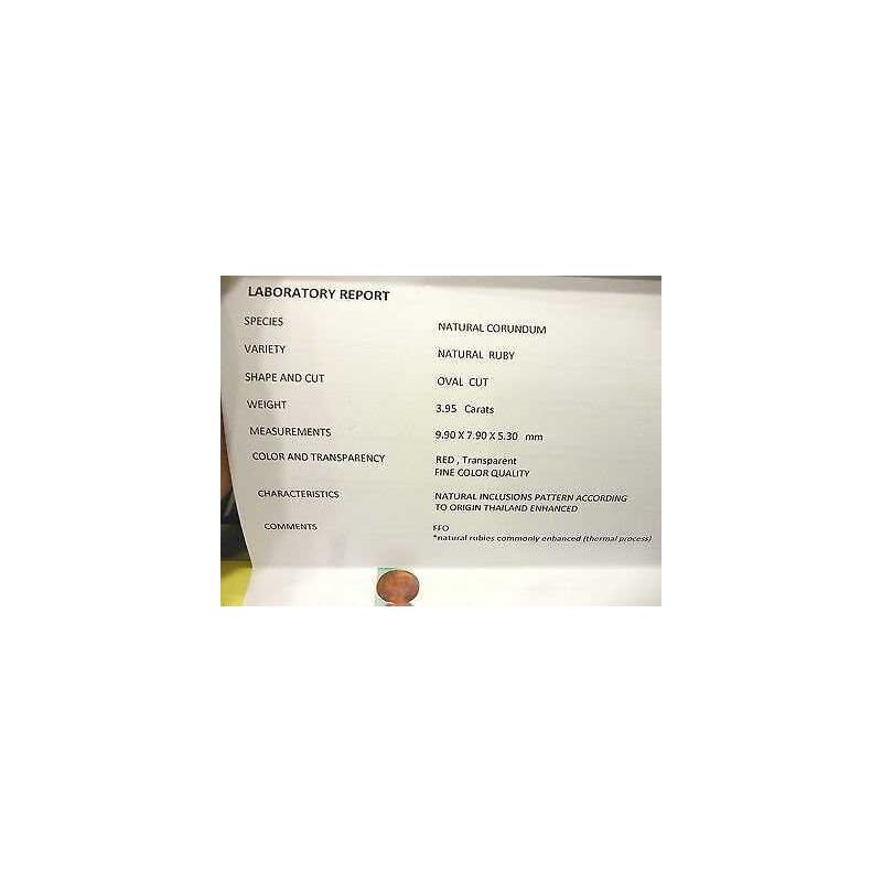 RUBINO CERTIFICATO TAGLIO OVALE 3,95 CARATI LOTTO 5,0 4,0 3,0