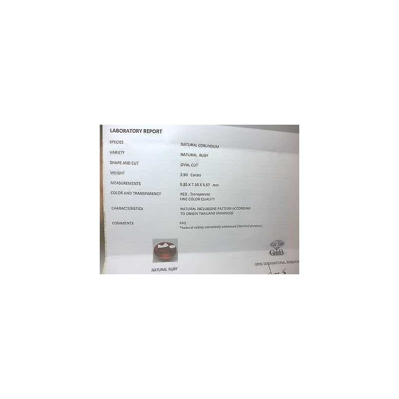 RUBINO CERTIFICATO TAGLIO OVALE 3.90 CARATI LOTTO 5,0 4,0 3,0
