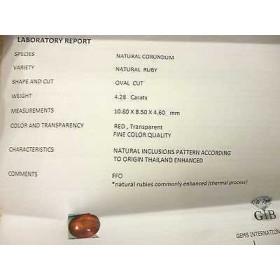 RUBINO CERTIFICATO TAGLIO OVALE 4,28 CARATI LOTTO 5,0 4,0 3,0