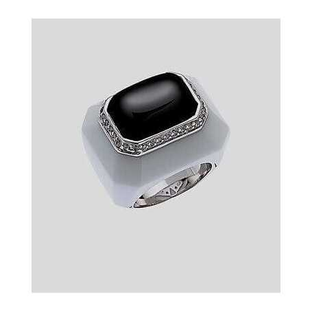 ring of porcelain and silver 925 with zircons