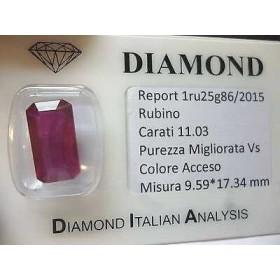RUBINO taglio smeraldo ottagonale 11.03 carati birmania