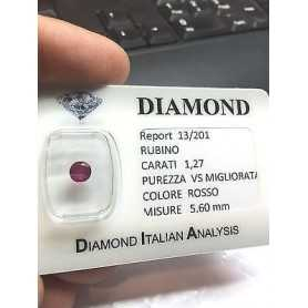 RUBY ROUND BRILLIANT 1,27 CARATS BURMA