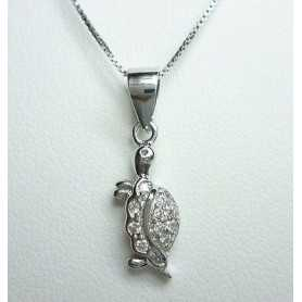 TURTLE PENDANT SILVER RHODIUM-PLATED GOLD DIAMOND LABORATORY HIGH MANUFACTURING