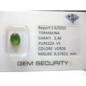 GREEN TOURMALINE OVAL CABOSCHON 3.46 CTS LOT 45