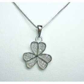 CLOVER PENDANT SILVER RHODIUM-PLATED GOLD DIAMOND LABORATORY HIGH MANUFACTURING