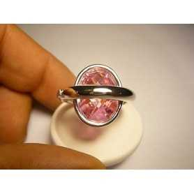 RING THE BENETTON TOPAZ, PINK SILVER, SIZE 20