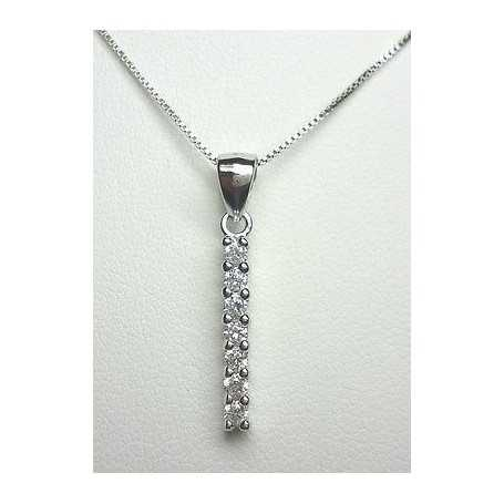 PENDANT TENNIS NECKLACE, SILVER RHODIUM-PLATED GOLD DIAMOND LABORATORY-0.30 CAR