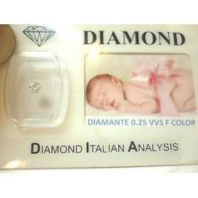 DIAMANTE 0.25 vvs F color blister personalizzabile scatola regalo