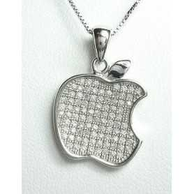 APPLE PENDANT SILVER RHODIUM-PLATED GOLD DIAMOND LABORATORY HIGH MANUFACTURING