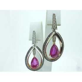 BOUCLES D'OREILLES RUBIS DIAMANTS EN OR 18 KT GR. De 12,80