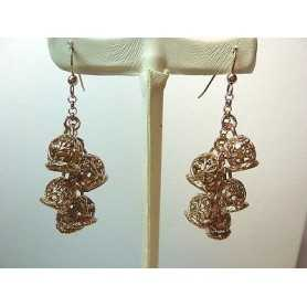 EARRINGS BELL STERLING SILVER 925 RHODIUM-PLATED ROSE GOLD-17.30 GRAMS THE END OF THE SERIES