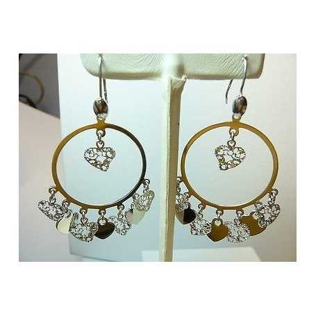 EARRINGS CIRCLES FILIGREE SILVER 925 RHODIUM-PLATED GOLD 13.00 GRAMS THE END OF THE SERIES