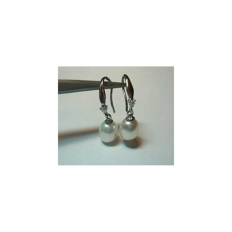 EARRINGS PEARLS, MOTHER-OF-PEARL SILVER ZIRCONCINO