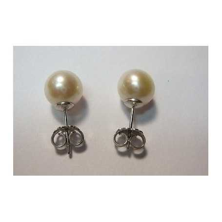 EARRINGS AKOYA PEARLS 7.5 /8.0 mm WHITE GOLD 2.3 GRAMS PLATINUM AAAA