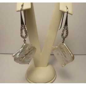 EARRINGS PEARLS BIWA JAPAN 50CARATI SILVER WHITE GOLD DIAMOND LAB.