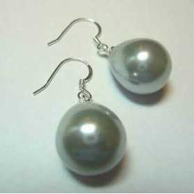 EARRINGS, PEARLS, GREY MOTHER-OF-PEARL SILVER