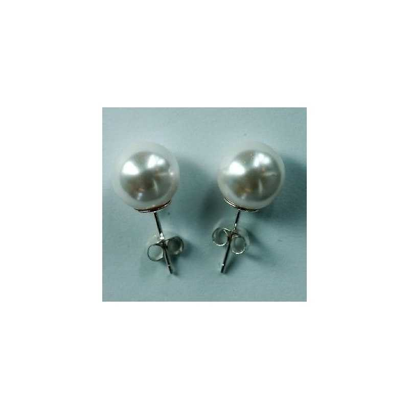 EARRINGS PEARLS, MOTHER-OF-PEARL TAHITI 63-CARAT SILVER WHITE GOLD