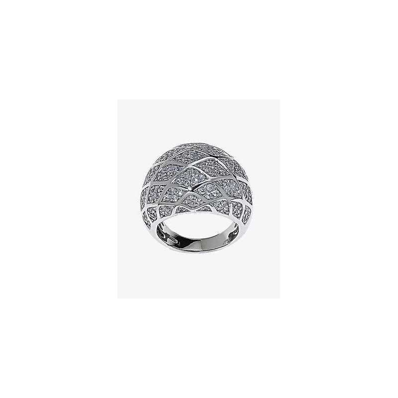 RING BAND SILVER RHODIUM-PLATED WHITE GOLD DIAMONDS RUSSIAN LAB MIS 16