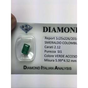 ÉMERAUDE de COLOMBIE 2.12 carats émeraude beaucoup 4.00