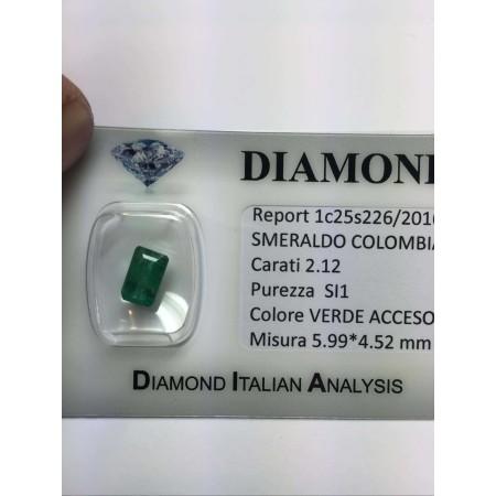 SMERALDO COLOMBIA 2.12 carati taglio smeraldo lotto 4.00