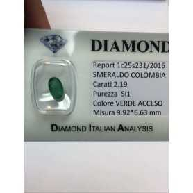 EMERALD COLOMBIA 2.19 carat OVAL cut lot 1.00 1.50 2.00