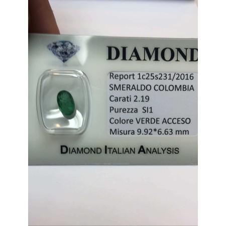 EMERALD COLOMBIA 2.19 carat OVAL cut lot 1.00 1.50 2.00