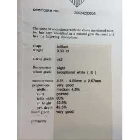 DIAMANT VÉRIFIÉ HRD-0,33 CARAT VS2 ET LA COULEUR DE LOT 0,30