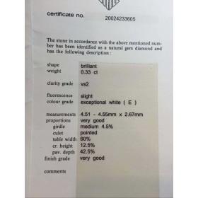 DIAMOND VERIFIED HRD-CARAT 0,33 VS2 AND COLOR BATCH 0,30