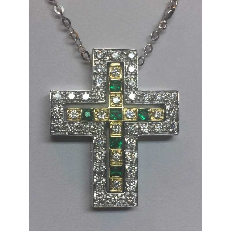 CROIX DE DIAMANTS, D'ÉMERAUDES ET DE DIAMANTS