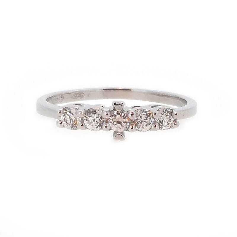 RING RING, in RHODIUM-plated SILVER with DIAMONDS, cubic ZIRCONIA - VERSION 1