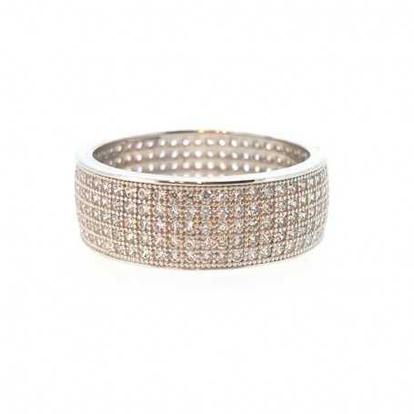 RING ETERNITY 925 SILVER rhodium-plated WHITE GOLD set with DIAMONDS cubic zirconia