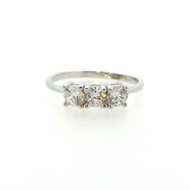 TRILOGY RING OF 2.40 CT SILVER RHODIUM plated DIAMOND cubic ZIRCONIA