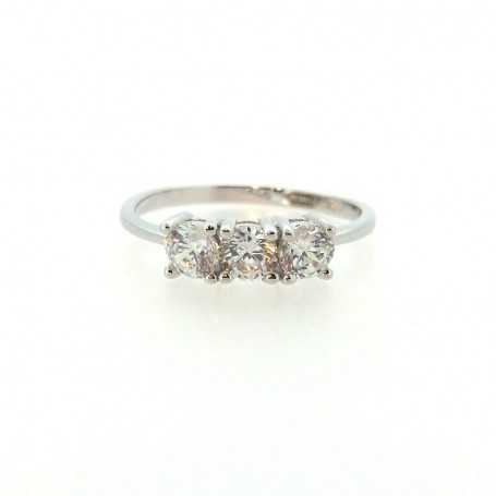 TRILOGY ring 2,40 CT in rhodium silver with Zircon diamonds