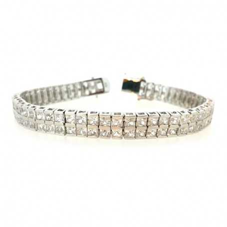 TENNIS BRACELET DOUBLE-SILVER 18 cm with DIAMONDS, cubic ZIRCONIA and RHODIUM-plating WHITE GOLD