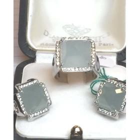 RING AND EARRINGS DIAMONDS AND AQUAMARINE MILK GR 26.50