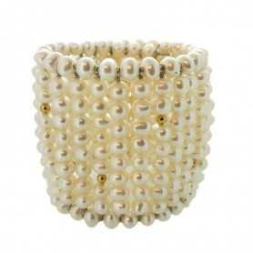 BRACELET WIDE PEARL BIWA of JAPAN WITH GOLD 18 KT