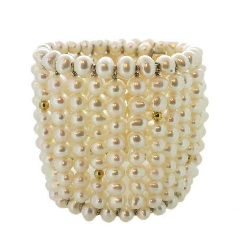 BRACELET LARGE PEARLS BIWA JAPAN WITH SILVER RHODIUM-PLATED 18 KT