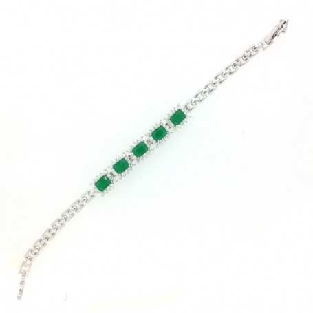 SILVER BRACELET WITH SAPPHIRES, RUBIES OR EMERALDS