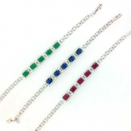 SILVER BRACELET WITH SAPPHIRES, RUBIES, OR EMERALDS