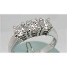 TRILOGY RING WITH 0.90 CARAT DIAMONDS NATURAL VS, f /GOLD 18 KT 1.00 1.20