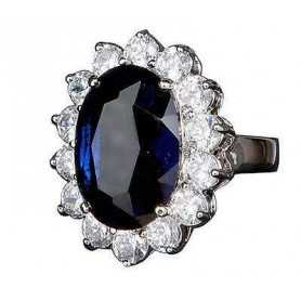 SAPPHIRE RING 5 CARATS DIAMONDS BLUE DIAMONDS 1.40 CARAT model middleton